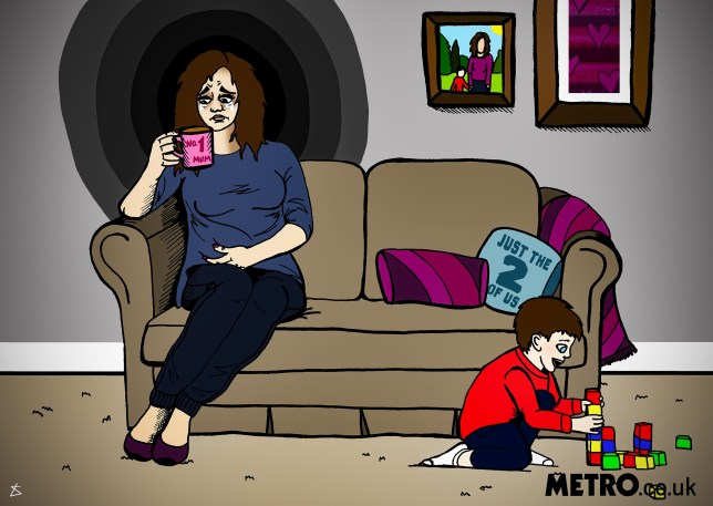 Loneliness of having a baby by sperm donor. Metro illustrations (Picture: Liberty Antonia Sadler/ Metro.co.uk) woman sat on a sofa in her home holding a cup of tea, while her son play with toys on the floor. She needs to look very sad, and be in the centre of the pic so she appears alone ??? sad, dark colours too perhaps? Something that conveys her loneliness