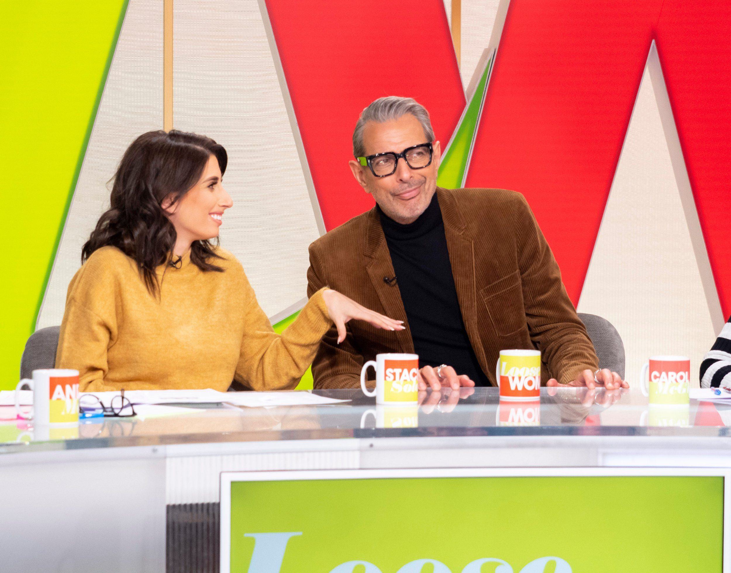 Editorial use only Mandatory Credit: Photo by Ken McKay/ITV/REX (9990828aw) Stacey Solomon, Jeff Goldblum 'Loose Women' TV show, London, UK - 23 Nov 2018 CELEBRITY GUEST: JEFF GOLDBLUM He is a Hollywood icon who has been on our screens for over forty years in films such as Jurassic Park, Independence Day and The Fly. But now acting supremo Jeff Goldblum has turned his attention to his love of music and has released his first album, a jazz album, ?The Capitol Studios Session?. Jeff joins us to tell us all about his album, his stellar acting career, and becoming a dad for the first time in his 60s!