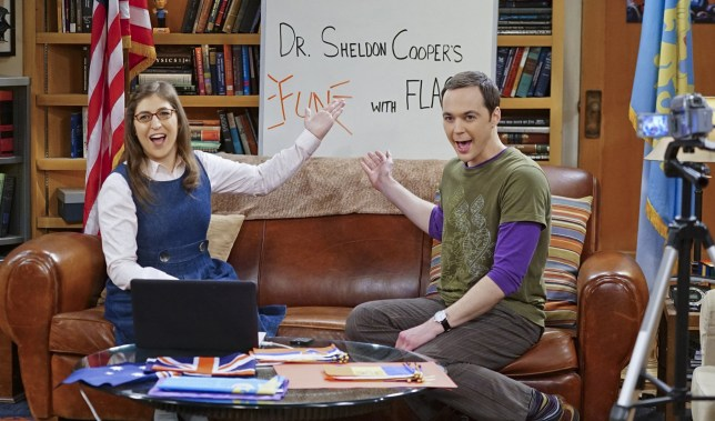 "LOS ANGELES - JANUARY 19: ""The Valentino Submergence"" -- Sheldon (Jim Parsons, right) and Amy (Mayim Bialik, left) host a live Valentine's Day episode of Fun with Flag, on THE BIG BANG THEORY, Thursday, Feb. 11 (8:00-8:31 PM, ET/PT), on the CBS Television Network. (Photo by Monty Brinton/CBS via Getty Images)"