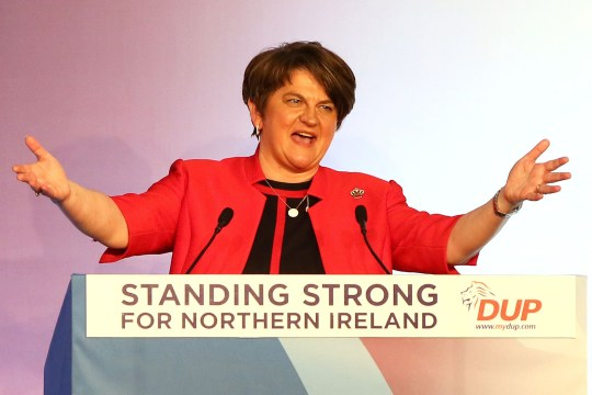 Democratic Unionist Party (DUP) leader Arlene Foster speaks to delegates at the Democratic Unionist Party (DUP) annual conference in Belfast, Northern Ireland on November 24, 2018. - Opposition to a draft Brexit deal due to be approved by EU leaders will dominate at a conference on Saturday of the Democratic Unionist Party, the Northern Irish party holding the fate of Brexit and the British government in its hands. (Photo by Paul FAITH / AFP)PAUL FAITH/AFP/Getty Images