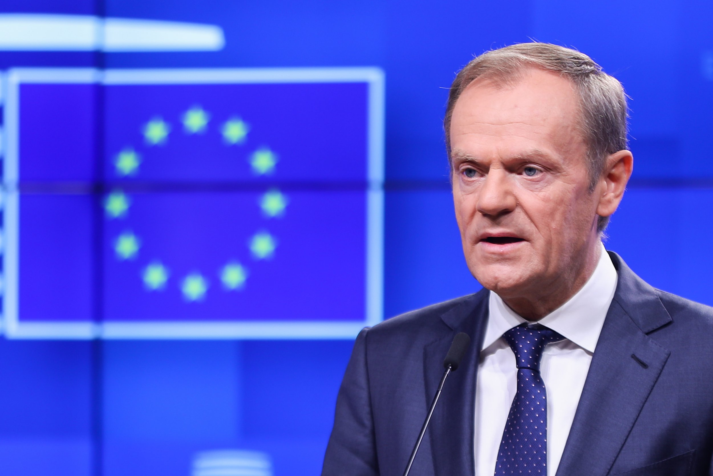 """Mandatory Credit: Photo by Xinhua/REX/Shutterstock (9981996c) European Council President Donald Tusk speaks at a press conference European Council meeting, Brussels, Belgium - 15 Nov 2018 A European Council meeting is expected on Nov. 25 in order to """"finalize and formalize the Brexit agreement,"""" European Council President Donald Tusk told reporters Thursday."""