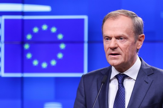 "Mandatory Credit: Photo by Xinhua/REX/Shutterstock (9981996c) European Council President Donald Tusk speaks at a press conference European Council meeting, Brussels, Belgium - 15 Nov 2018 A European Council meeting is expected on Nov. 25 in order to ""finalize and formalize the Brexit agreement,"" European Council President Donald Tusk told reporters Thursday."
