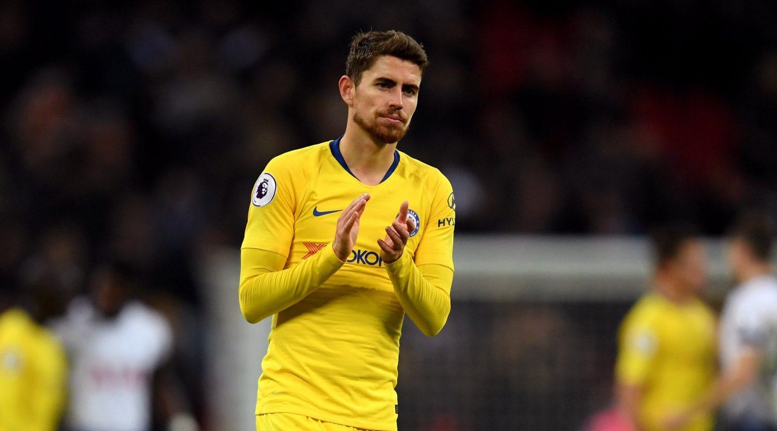 LONDON, ENGLAND - NOVEMBER 24: Jorginho of Chelsea applauds fans after the Premier League match between Tottenham Hotspur and Chelsea FC at Tottenham Hotspur Stadium on November 24, 2018 in London, United Kingdom. (Photo by Darren Walsh/Chelsea FC via Getty Images)