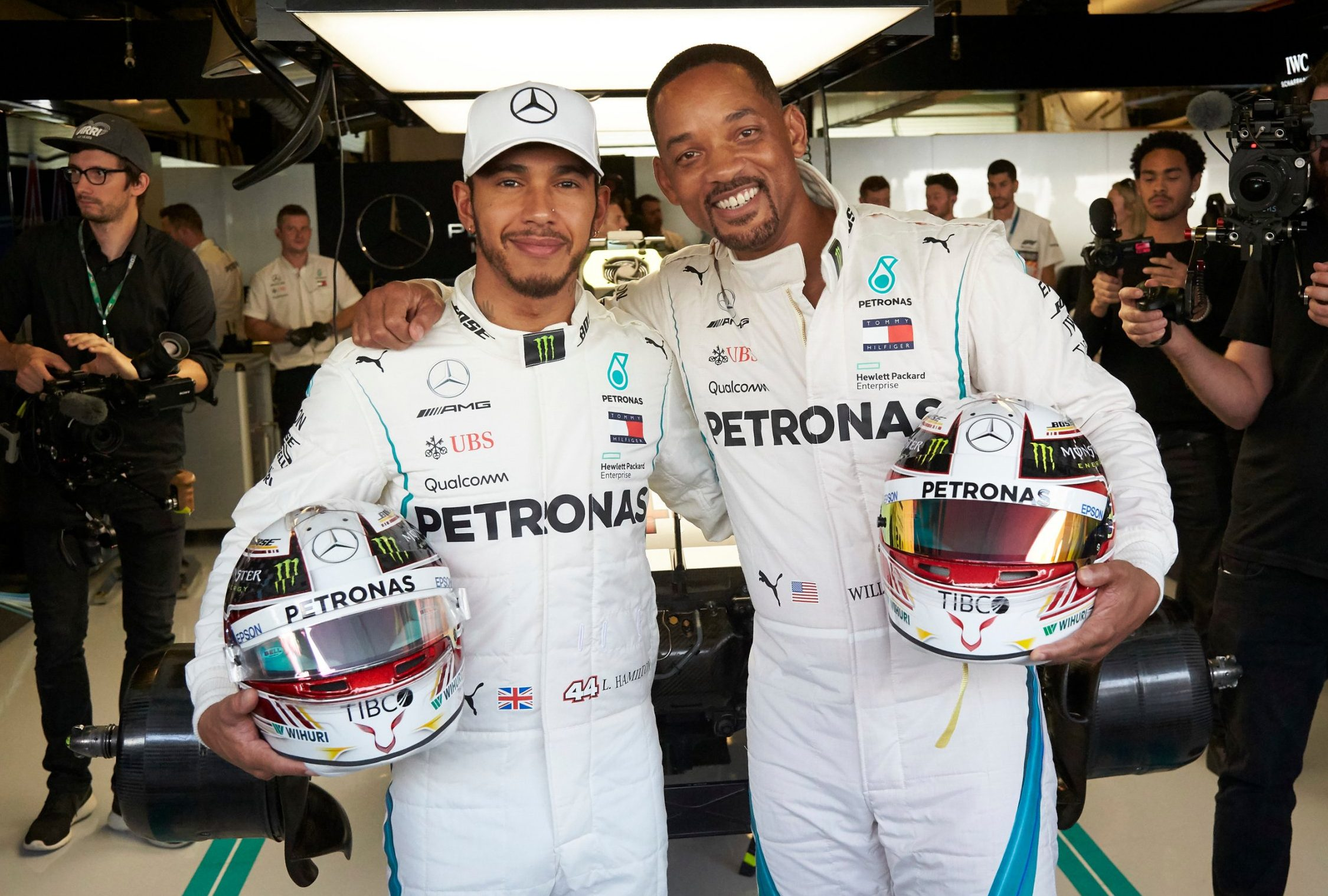 Mandatory Credit: Photo by Steve Etherington/LAT Images/REX (9991948c) Lewis Hamilton, Mercedes AMG F1 and Will Smith pose in the Mercedes garage during the Abu Dhabi GP at Yas Marina Circuit on November 25, 2018 in Yas Marina Circuit, United Arab Emirates. 2018 Abu Dhabi GP - 25 Nov 2018