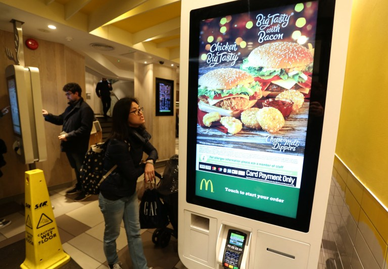 LONDON, UNITED KINGDOM, NOVEMBER 26TH 2018. General view McDonald's fast food restaurant on Oxford Street near Tottenham Court Road in London, 26th November 2018. Dr. Paul Matewele, Doctor and researcher of Microbiology and Immunology in the London Metropolitan University School of Human Sciences, has discovered several forms of bacteria on the self-service machines in McDonald's fast food restaurants around the country. Photo credit: Susannah Ireland