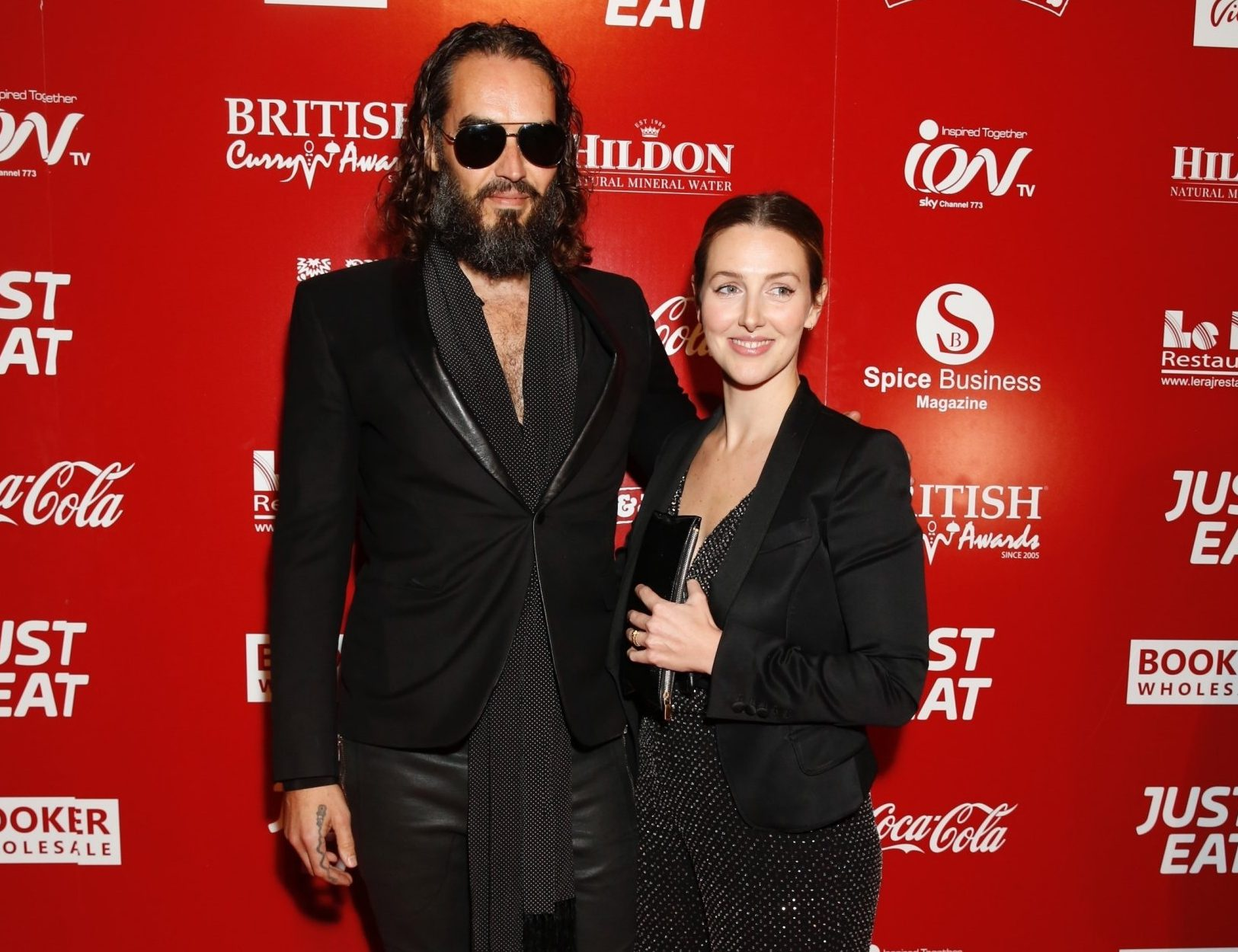 Russell Brand and wife Laura Gallacher look smitten as they make red carpet debut at British Curry Awards