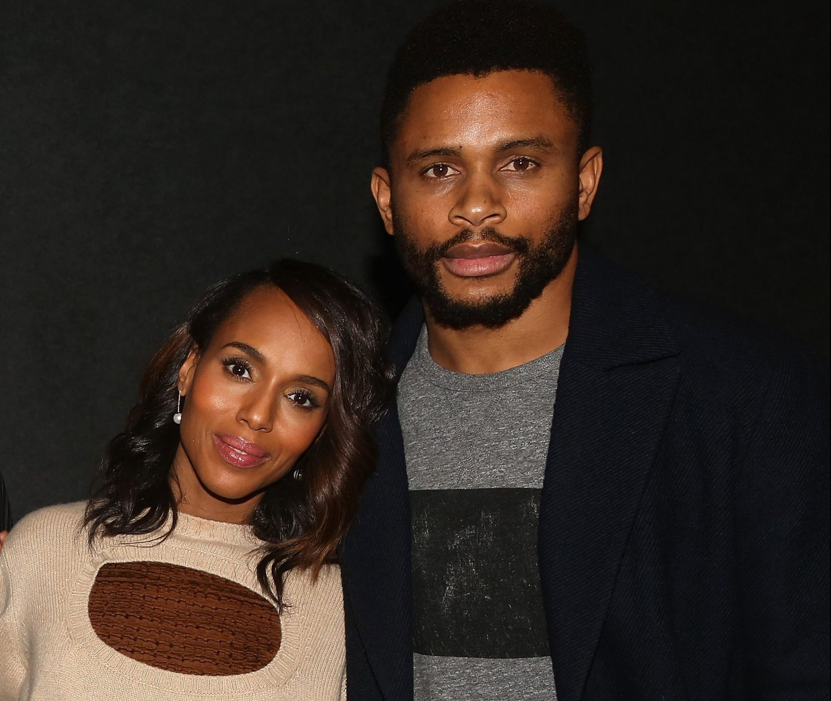 """NEW YORK, NY - NOVEMBER 26: Kerry Washington and husband Nnamdi Asomugha pose at a screening for Annapurna Pictures film """"If Beale Street Could Talk"""" hosted by Kerry Washington at Landmark 57 Theatre on November 26, 2018 in New York City. (Photo by Bruce Glikas/Bruce Glikas/Getty Images)"""