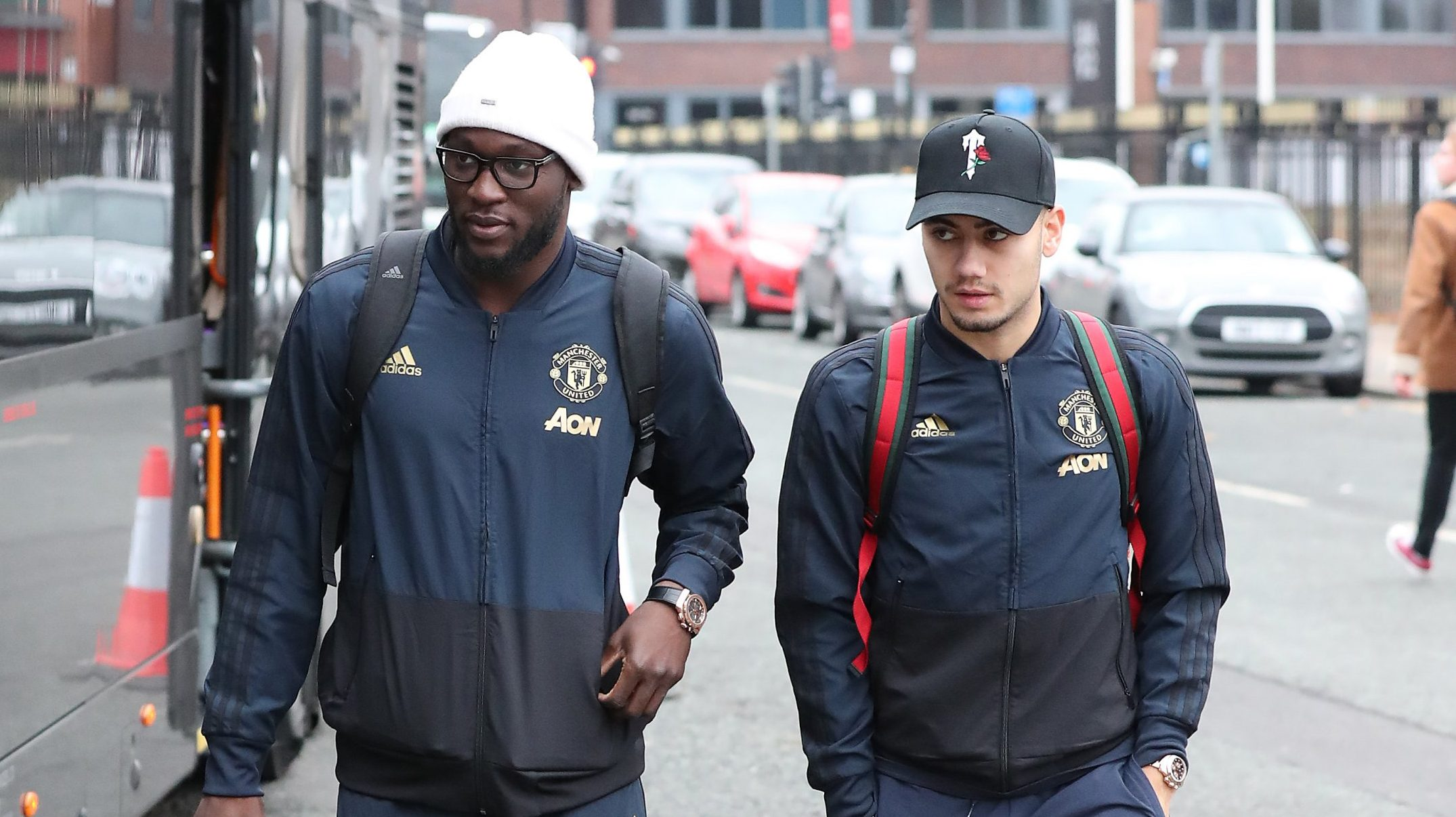 27.11.18??????. The Manchester United team change hotels again as the arrive at the Hilton Garden Hotel at Old Trafford Cricket Ground on Tuesday morning for their Champions League match against Young Boys on Tuesday. The hotel is 1000 yards away from Old Trafford Football Stadium??????.. Andreas Pereira and Romelu Lukaku.