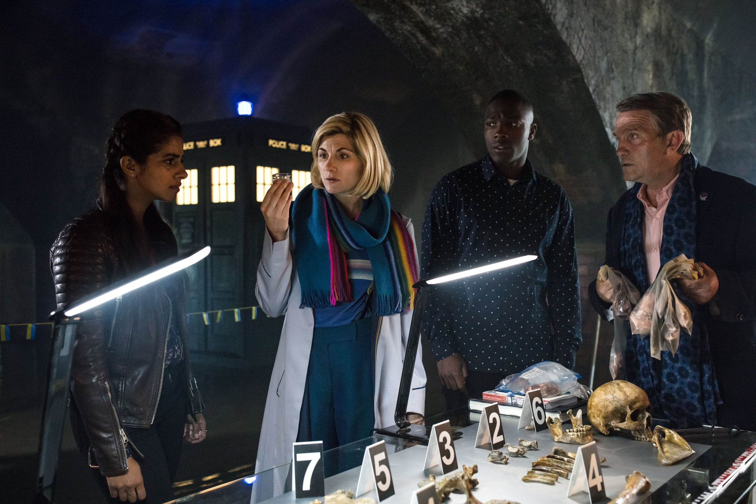 WARNING: Embargoed for publication until 00:00:01 on 27/11/2018 - Programme Name: Doctor Who - TX: n/a - Episode: n/a (No. n/a) - Picture Shows: **EARLY RELEASE IMAGE** **Strictly Embargoed until 27/11/2018 00:00:01** Yaz (MANDIP GILL), The Doctor (JODIE WHITTAKER), Ryan (TOSIN COLE), Graham (BRADLEY WALSH) - (C) BBC/ BBC Studios - Photographer: Sophie Mutevelian