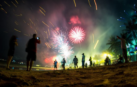 Colorful fireworks on the beach, New Year celebration in Phuket, Thailand. People on the front are de-focused, blurred and not recognizable.; Shutterstock ID 542069506; Purchase Order: -