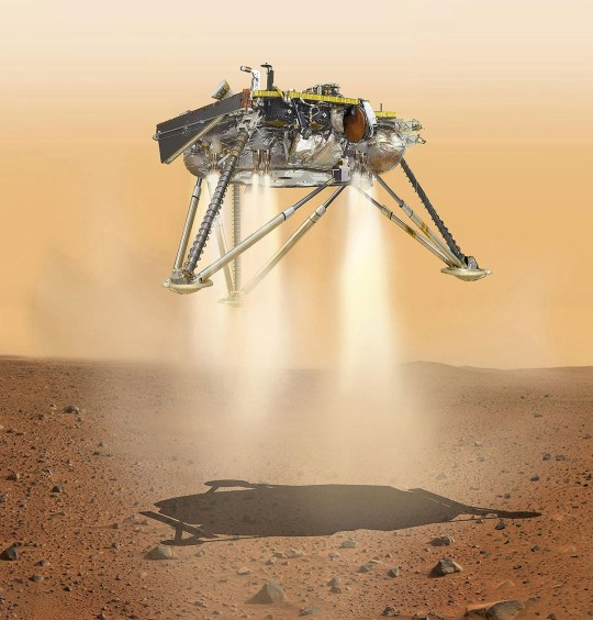 Mandatory Credit: Photo by NASA/JPL-Caltech/ZUMA Wire/REX (9993553c) An artist's impression of Nasa's InSight lander about to touch down on Mars. The InSight lander has landed successfully. InSight probe spacecraft lands on Mars - 26 Nov 2018