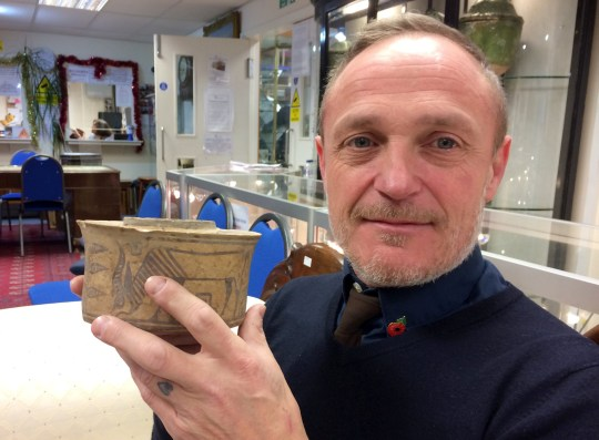 Karl Martin with the pot. A piece of pottery snapped up at a Midlands car boot sale and then used in the bathroom to store toothpaste and toothbrushes turned out to be a genuine ancient antiquity made in 1900 BC ? making it 4,000 years old. See SWMDpottery The pottery jar, featuring a painting of an antelope, was spotted on a stall at Willington car boot sale five years ago by Derby man Karl Martin ? and he bought it along with another pot at a cost of ?4 for the pair.