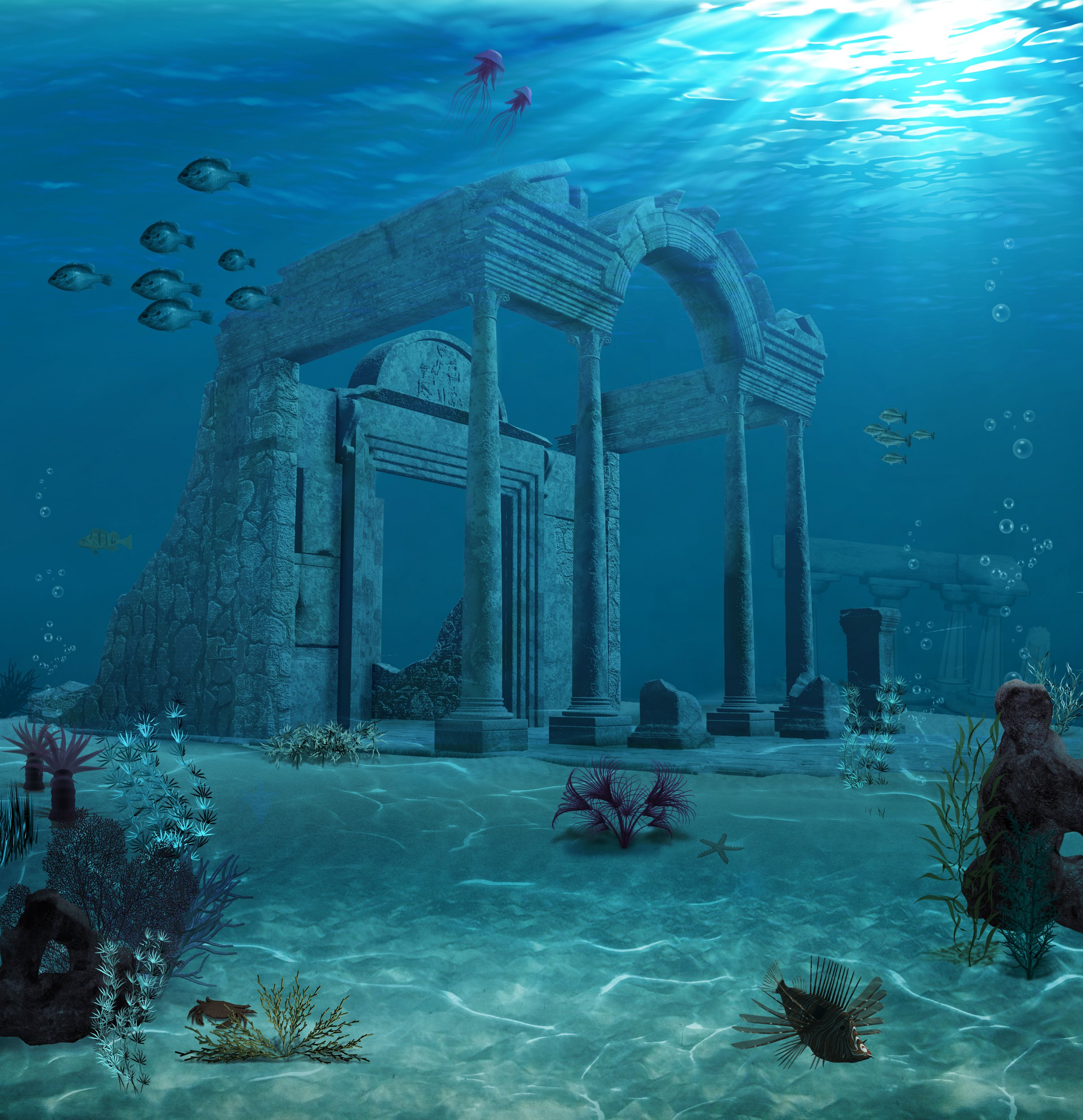3d illustration of the sunken ruins of an ancient Atlantis type civilization.