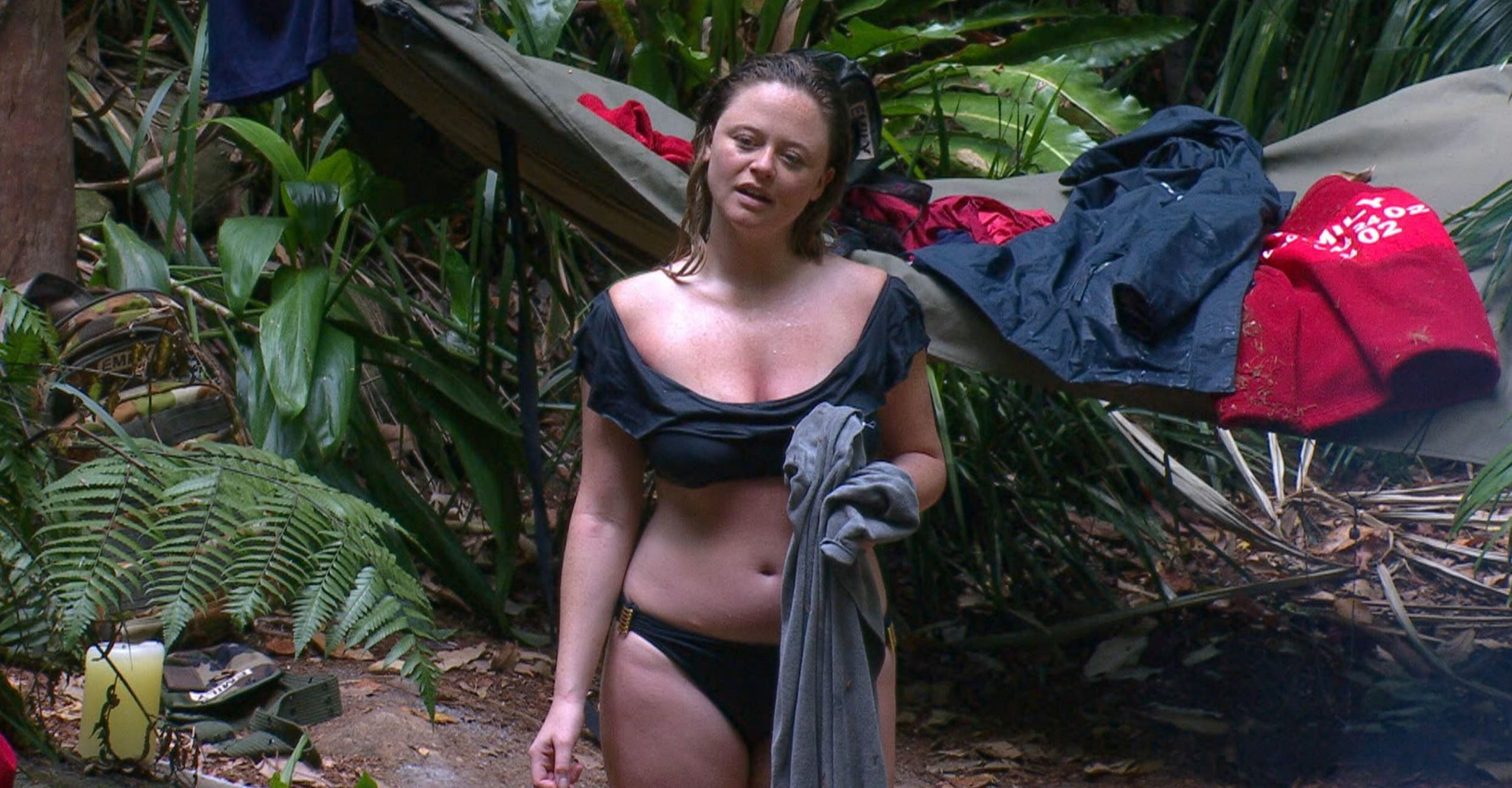 STRICT EMBARGO - NOT TO BE USED BEFORE 22:00 GMT, 28 NOV 2018 - EDITORIAL USE ONLY Mandatory Credit: Photo by ITV/REX (10001287fl) Nick Gets Knickered - Emily Atack 'I'm a Celebrity... Get Me Out of Here!' TV Show, Series 18, Australia - 28 Nov 2018