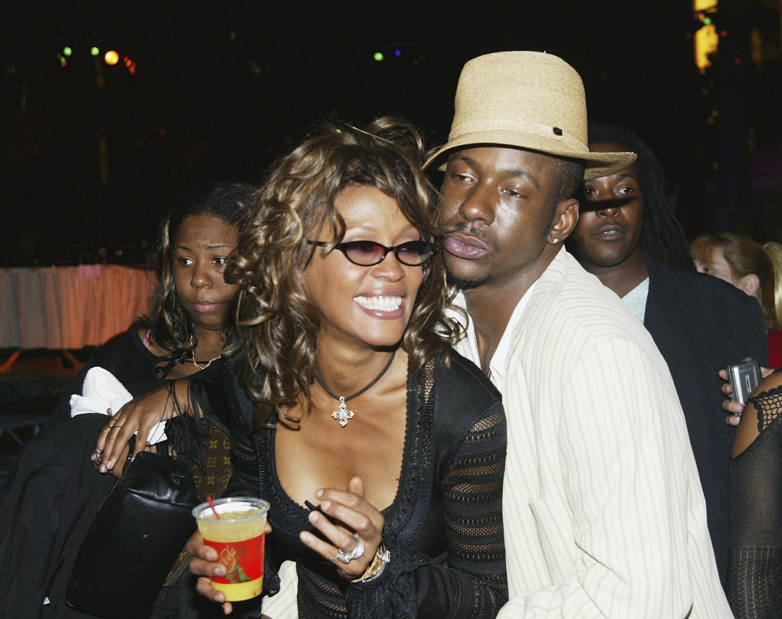 LAS VEGAS - MAY 22: Singers Whitney Houston and husband Bobby Brown attend the VH1 Divas Duets post concert party to benefit the VH1 Save the Music Foundation held at the MGM Grand Garden Arena on May 22, 2003 in Las Vegas, Nevada. (Photo by Frazer Harrison/Getty Images)