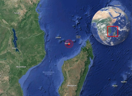 Earthquake, 15 miles off coast of Mayotte (Picture: Google/Metro.co.uk)