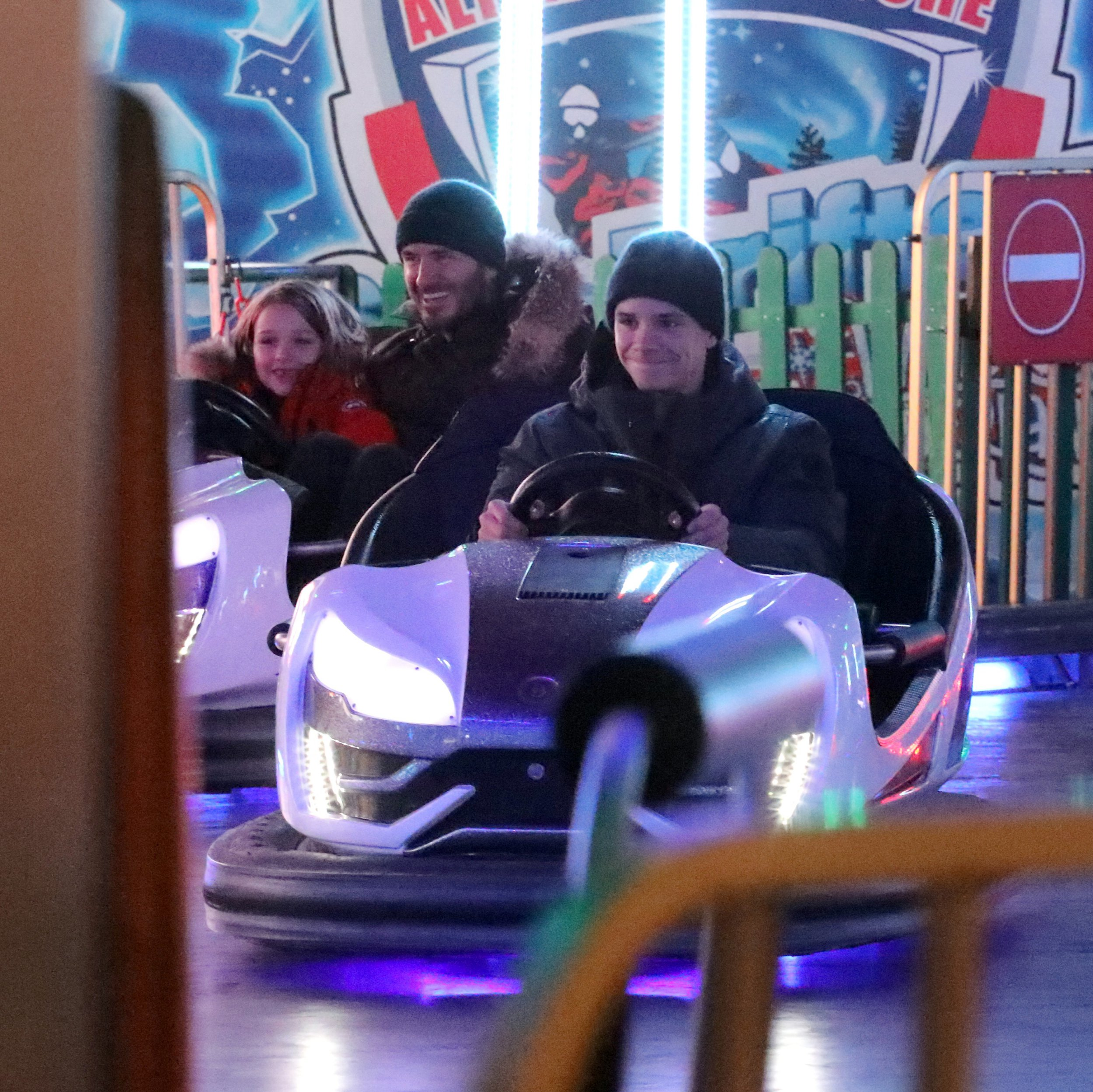 EXCLUSIVE: *NO WEB UNTIL 10AM GMT 30TH NOV MIN FEE TO BE AGREED BEFORE REPRO* David Beckham and daughter Harper, seven, enjoy hot dogs and a whizz around the dodgems as they enjoy a festive family day at Winter Wonderland. 28 Nov 2018 Pictured: David Beckham with children Cruz, Romeo and Harper. Photo credit: MEGA TheMegaAgency.com +1 888 505 6342 (Mega Agency TagID: MEGA315292_001.jpg) [Photo via Mega Agency]
