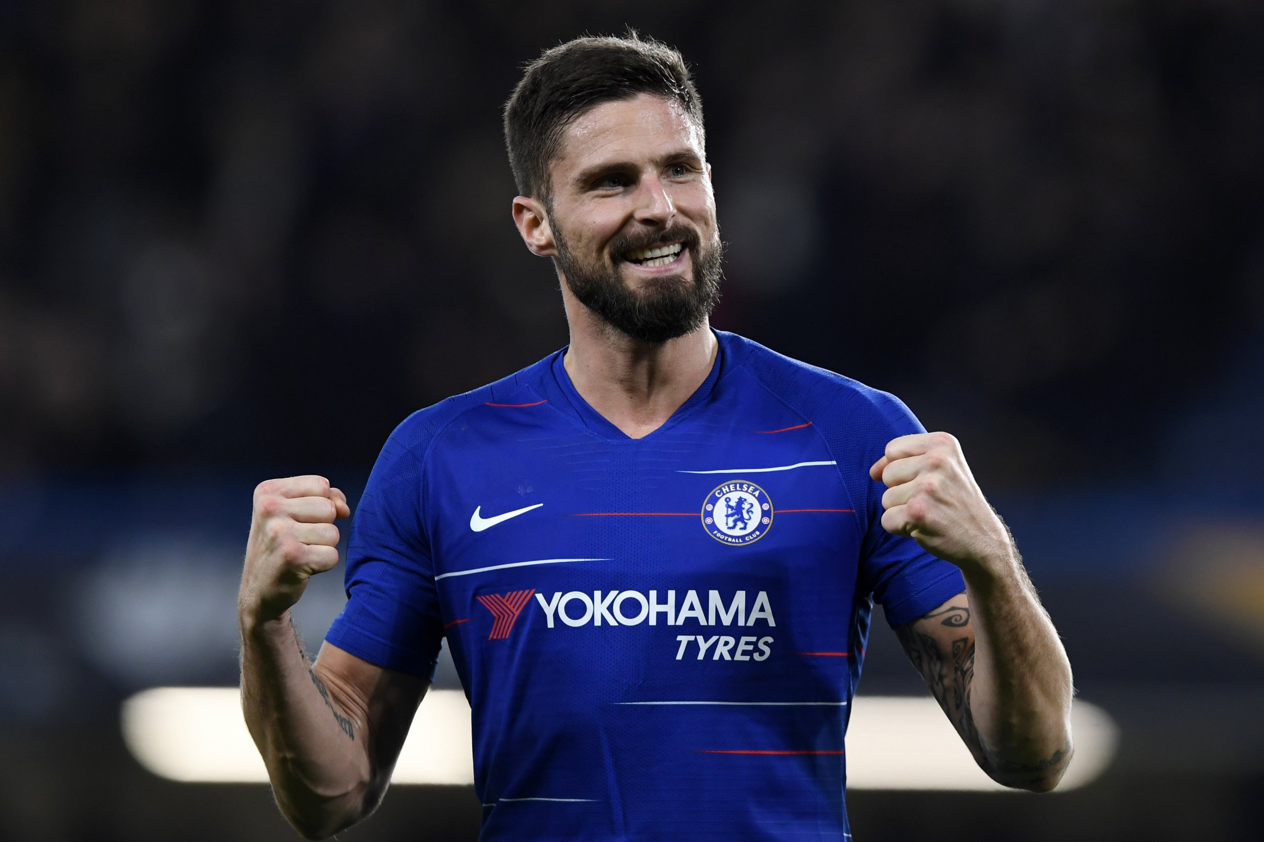 epa07198255 Chelsea's Olivier Giroud celebrates after scoring against PAOK during their UEFA Europa League Group L soccer match between Chelsea and PAOK in Stamford Bridge, London, Britain, 29 November 2018. EPA/WILL OLIVER