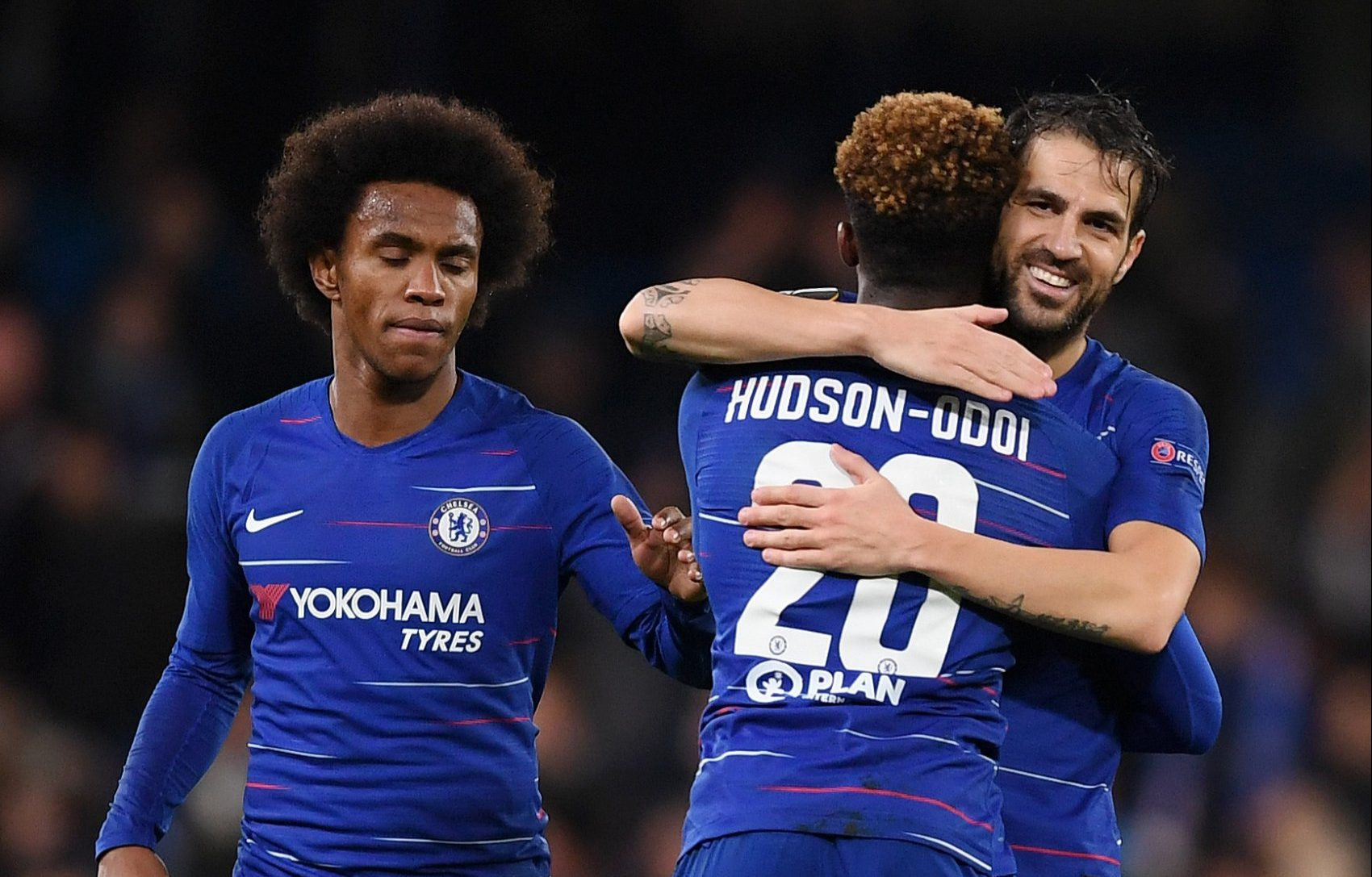 LONDON, ENGLAND - NOVEMBER 29: Callum Hudson-Odoi of Chelsea embraces Cesc Fabregas of Chelsea during the UEFA Europa League Group L match between Chelsea and PAOK at Stamford Bridge on November 29, 2018 in London, United Kingdom. (Photo by Darren Walsh/Chelsea FC via Getty Images)