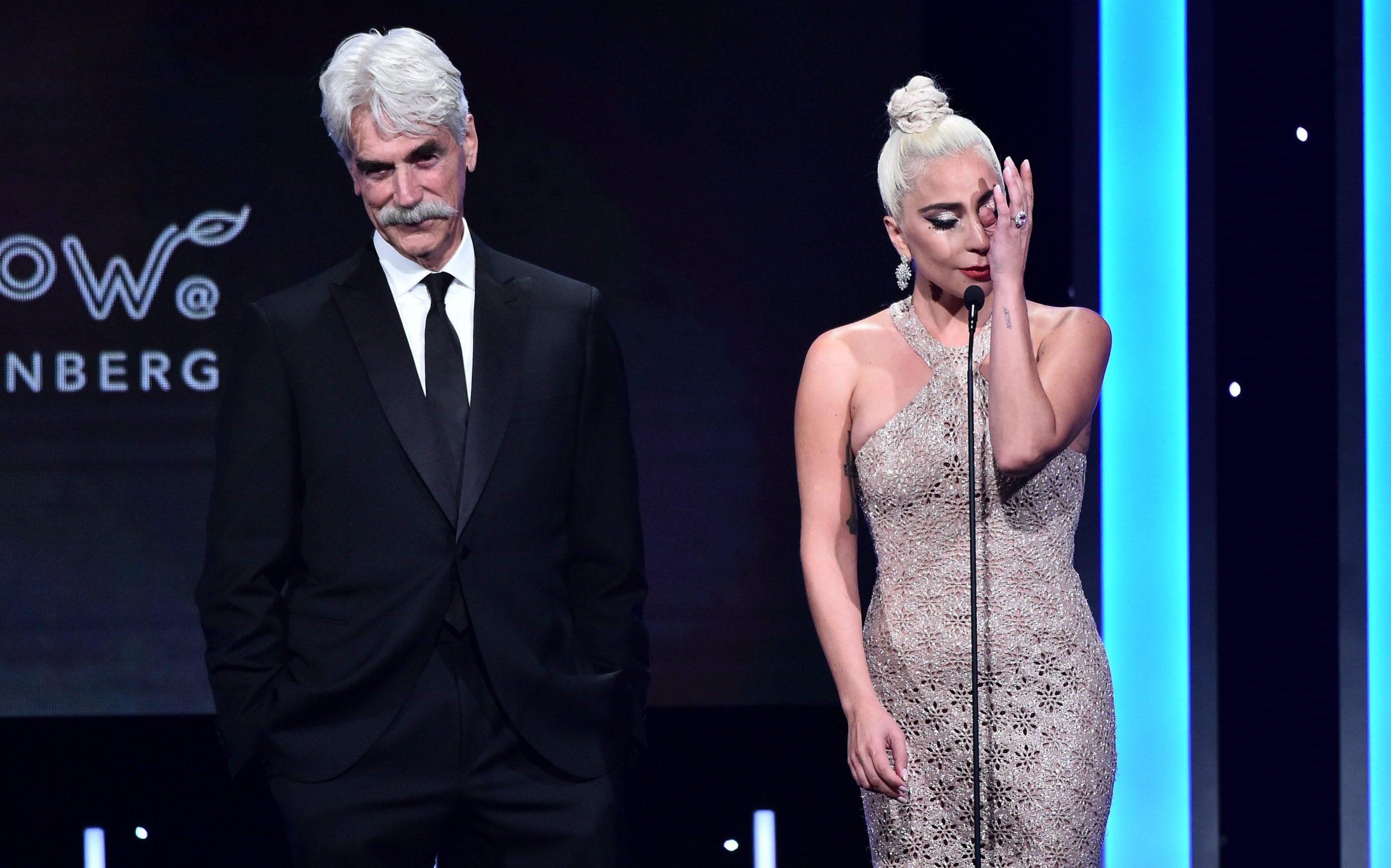 Mandatory Credit: Photo by Michael Buckner/Variety/REX (10003849cm) Sam Elliott and Lady Gaga 32nd Annual Cinematheque Award honoring Bradley Cooper, Show, Los Angeles, USA