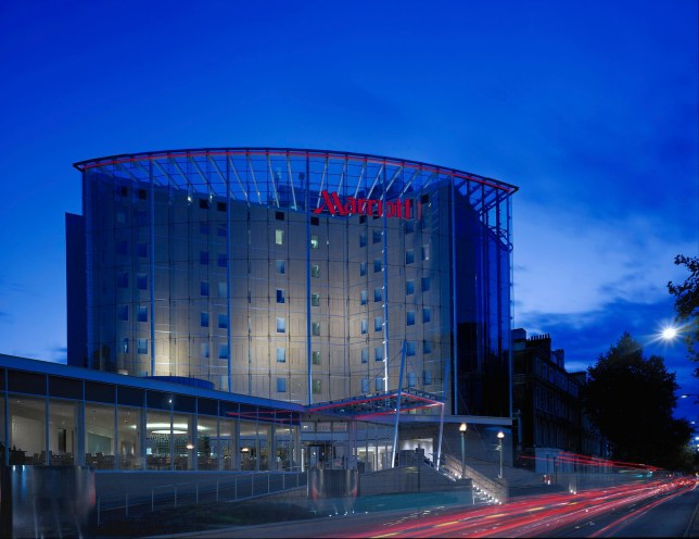 Marriott Hotel, London, United Kingdom, Architect Taylor Woodrow, Marriot Hotel Nightshot With A4 Road. (Photo by View Pictures/UIG via Getty Images)