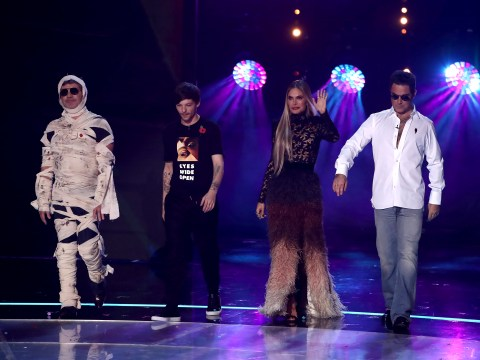 The X Factor's Robbie Williams channels his inner Simon Cowell for epic Fright Night costume