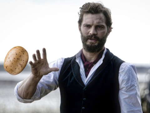 Jamie Dornan threw potatoes at a cottage roof to pass time on Death And Nightingales set