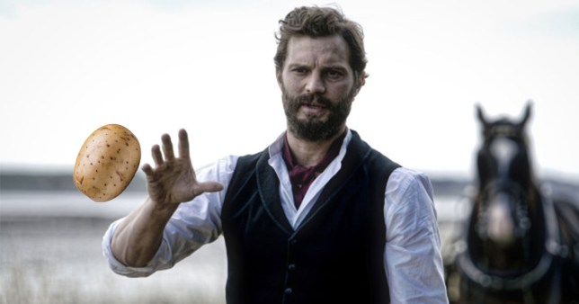 "Picture: BBC, Getty Jamie Dornan says he invented a time-killing game called ""roof potato"", which involved hurling vegetables in between takes for an upcoming period drama."