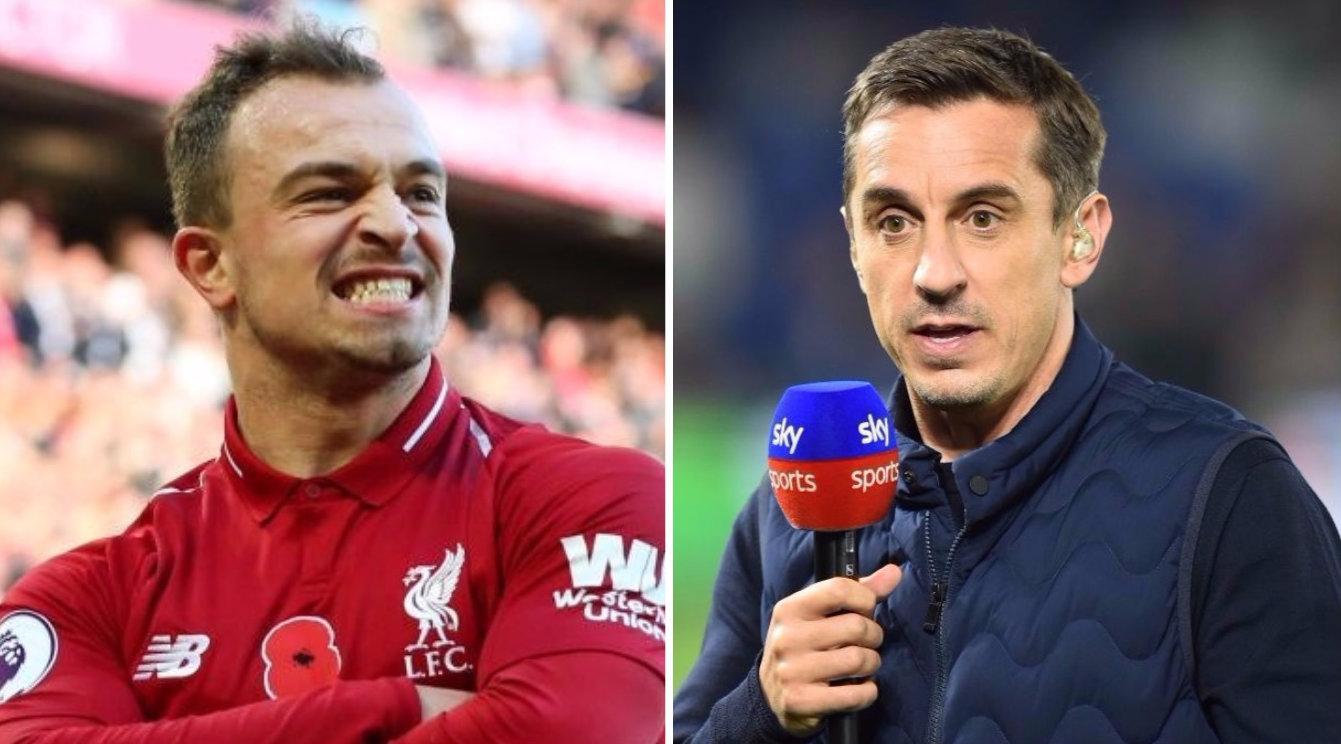 Xherdan Shaqiri hits back after Gary Neville brands Liverpool star 'unprofessional'