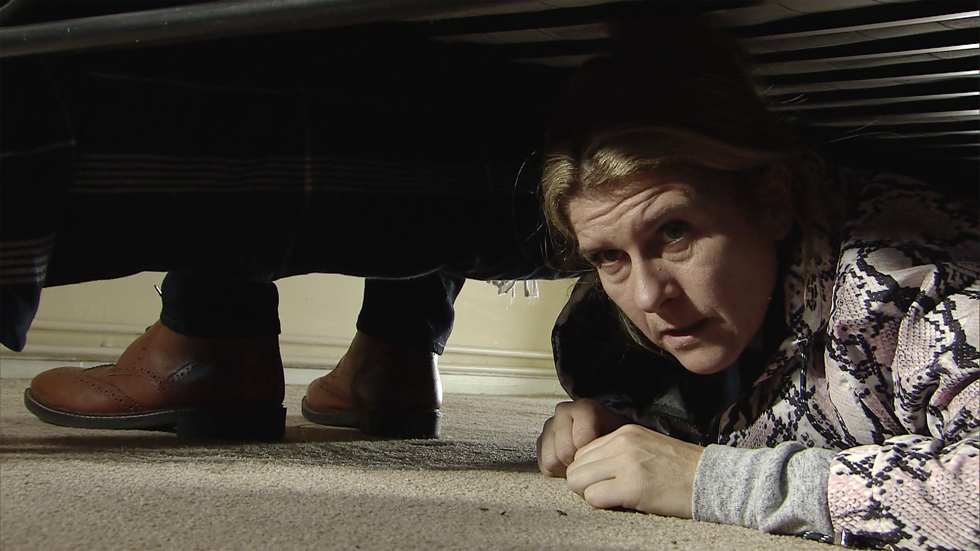 Gina hides in Coronation Street