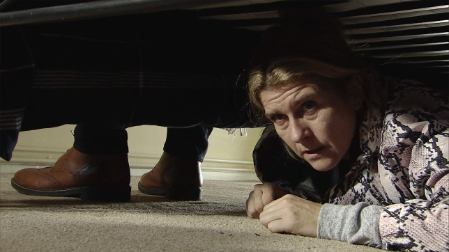 Gina hides in Coronation Street