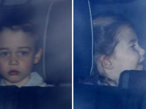 George and Charlotte arrive at Gan Gan's for Buckingham Palace Christmas party