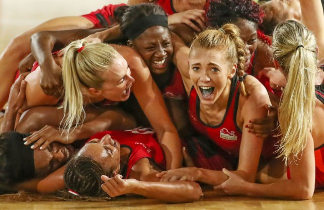 Helen Housby, who scored in the final second and her England teammates celebrate at full time and winning the Netball Gold Medal Match between England and Australia on day 11 of the Gold Coast 2018