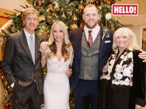Chloe Madeley shares a first glimpse at her plunging wedding dress as she marries rugby player James Haskell