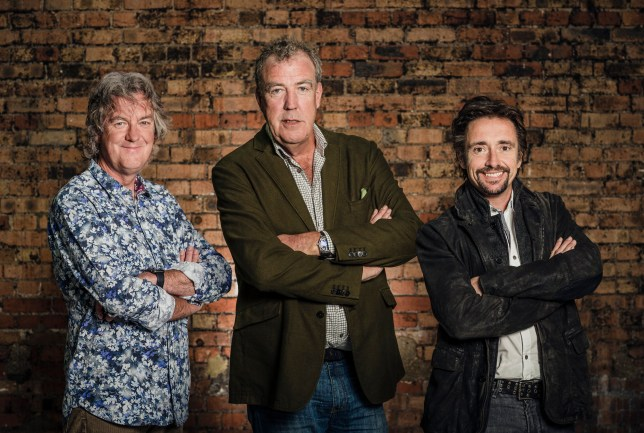 Television presenters of the forthcoming show The Grand Tour. Starring: James May, Jeremy Clarkson and Richard Hammond