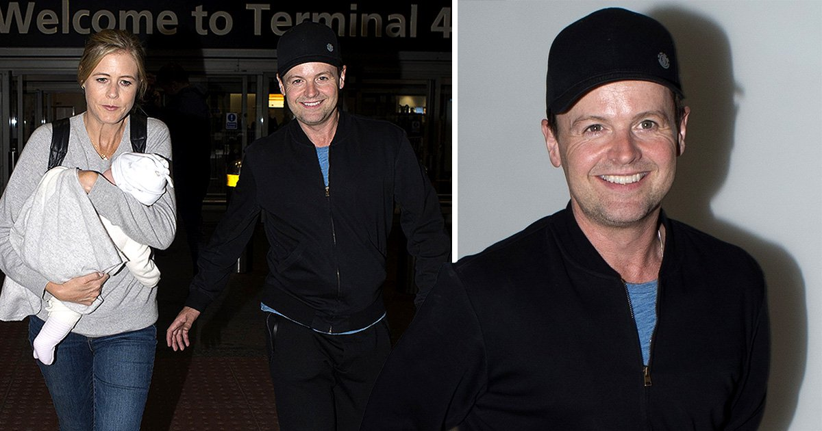 I'm A Celebrity's Declan Donnelly is all smiles as he returns home with wife Ali Astall and daughter Isla