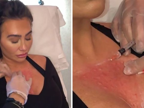 Lauren Goodger gets 'boob botox' injected into chest to dissolve wrinkles in painful procedure