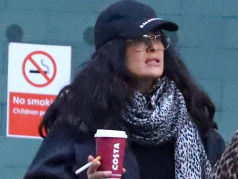 Salma Hayek makes her own rules as she ignores 'no smoking' signs at Heathrow Airport