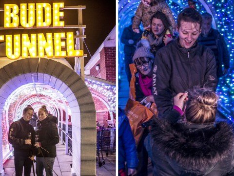 Woman proposes in the plastic supermarket tunnel that has accidentally become a tourist attraction