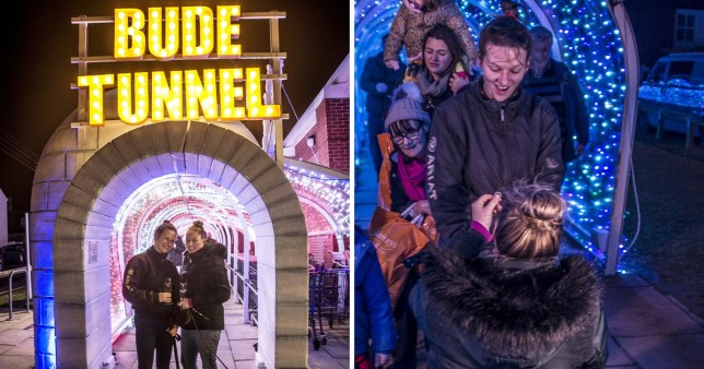 Woman proposes in famous supermarket trolley tunnel