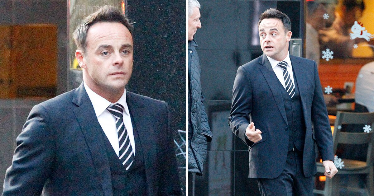 Ant McPartlin looks suave, suited and booted as he returns to work