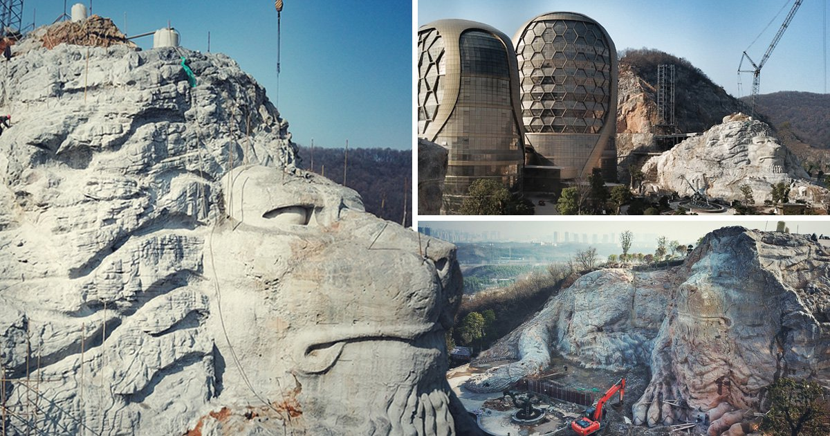 Hotel in China where they've carved two lions out of a stone pit
