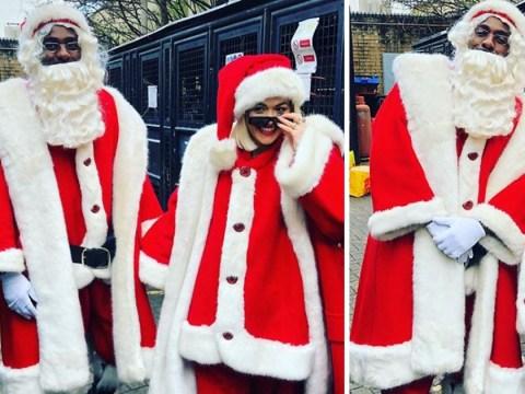 Rita Ora and Idris Elba melt hearts as they dress up as Santa for hospital visit