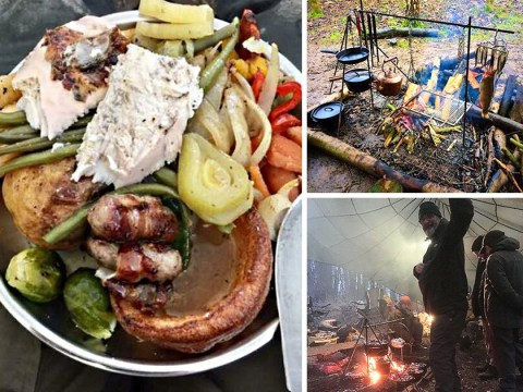 Dad cooks entire Christmas dinner on a fire in the middle of a forest