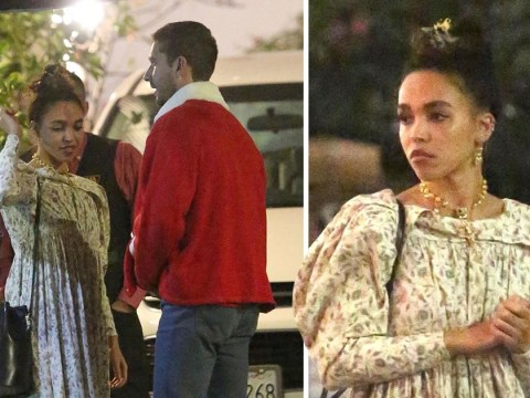 Shia LaBeouf and FKA twigs get in the festive mood as they step out for Christmas Eve dinner