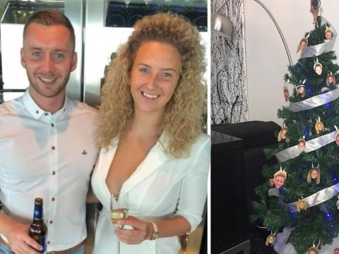 Woman pranks boyfriend by decorating Christmas tree with pictures of her face