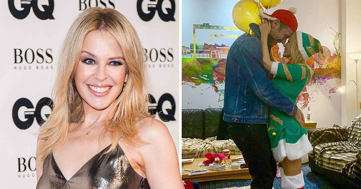 Kylie Minogue dresses as elf and cosies up to boyfriend in loved-up Christmas snap