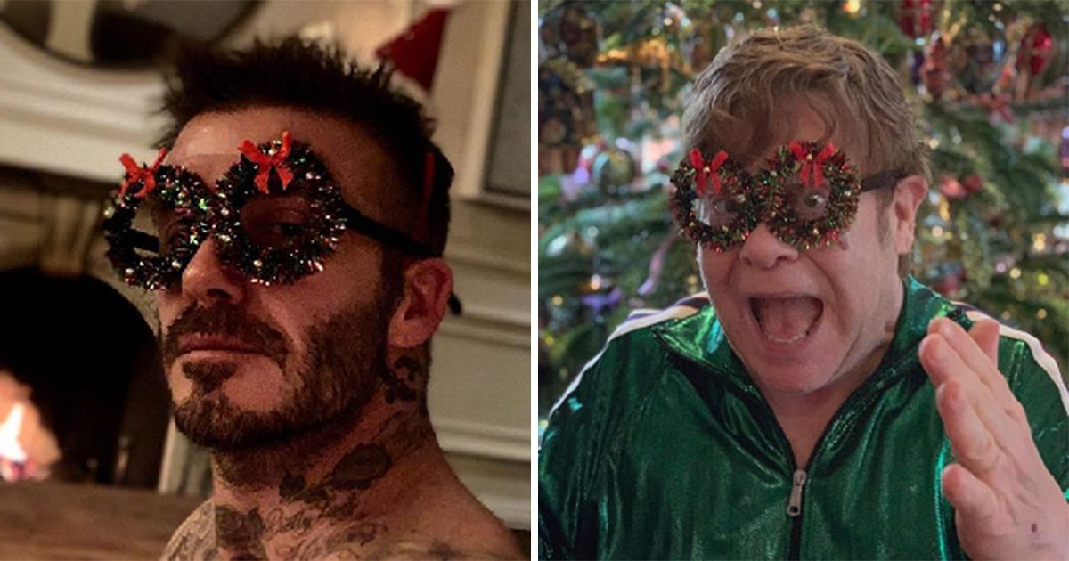 David Beckham trolls 'uncle' Elton John with festive frames as they celebrate Christmas