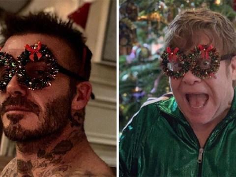 David Beckham trolls 'uncle' Elton John with festive frames as they celebrate Christmas