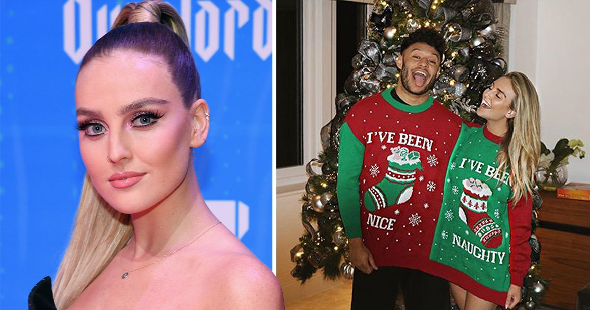 Perrie Edwards has been naughty this year as she snuggles into jumper with Alex Oxlade-Chamberlain